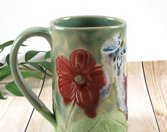 Poppies, Handmade Pottery Mug, Red Poppy, Unique Coffee  Mug, Ceramic Cup, Tea Cup, Butterflies, Ready to Ship, 698