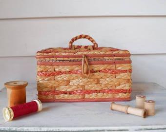 Vintage Wicker Sewing Basket Craft Storage Box Knitting Crochet Organizer Bin