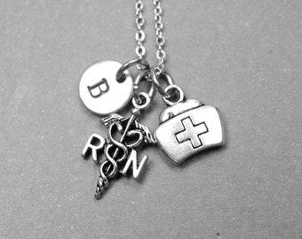 RN necklace, RN charm, nurse necklace, nurse cap necklace, nurse hat necklace, nurse graduate gift, personalized, initial necklace, monogram