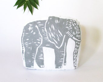Elephant Shaped PIllow. Hand Woodblock Printed.Choose ANY Color. Made to order.