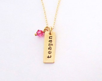 Girls Jewelry, Gold Personalized Name Necklace, Gold Bar Necklace, Girls Vertical Bar Necklace, Communion, Baptism, Nameplate Necklace