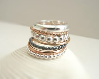 The Stack - Set of 7 Sterling Silver and Gold Filled Rings/14 K Solid Gold Option - Different Styles - by Stilosissima - California
