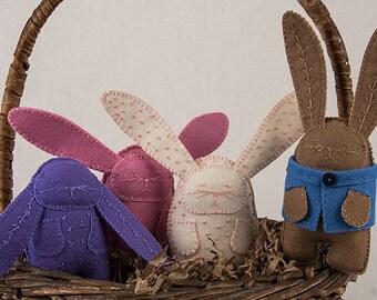 Bunny Sewing PATTERN, 4 Designs, Bunny Rabbit Plush Sewing Pattern, Felt Softie Pattern, Stuffed Animal Pattern, DIY Handmade Gift, Easter
