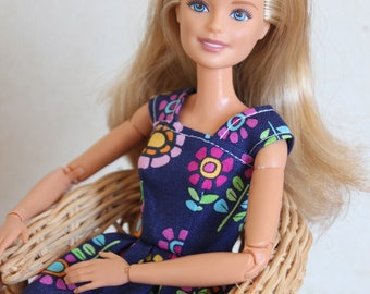 Hippie Blossoms~ Barbie Clothes, Doll dress, 1/6 scale