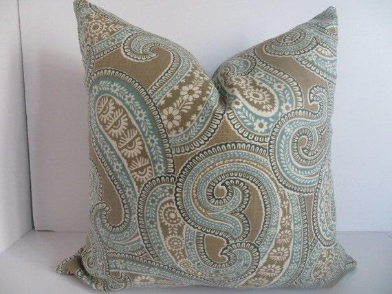 18x18 Pillow Decorative Pillow Brown Teal Pillow Taupe