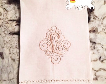 Linen Tea Towel Monogrammed Initial Personalized Embroidered