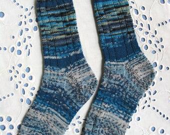 Ladies Wool Socks, Women Medium, Shades of Blue Turquoise Grey