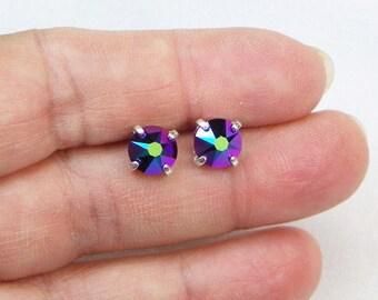 Swarovski Earrings - Swarovski Studs - Crystal Earrings - Scarab Green Earrings - Sterling Silver - Gift For Her - Color Changing