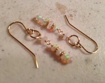 Opal Earrings - Ethiopian Opal Jewelry  - Gold Jewellery - Iridescent Gemstone - Luxe - Chic