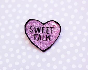 Sweet Talk Bakery Beauty Conversation Heart Brooch -  Valentines Day Heart Brooch - Conversation  Heart Pin