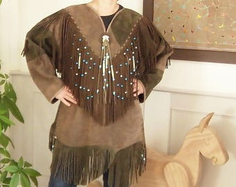 Native American tunic cowhide leather and glass beads
