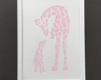 Mother and Baby Giraffe Acrylic Painting