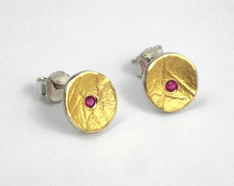 Classy round earrings with textured surface and a genuine ruby, Gold and silver earrings, Modern ruby earrings, Minimal ruby earrings.