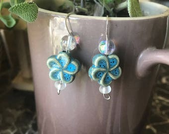 Handmade glass bead flower earrings