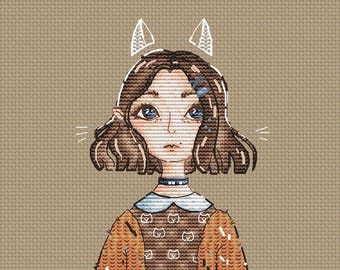 Anime style girl Cross Stitch Pattern Brown hair girl with cat ears cross stitch pattern Gift for girl cross stitch anime cross stitch