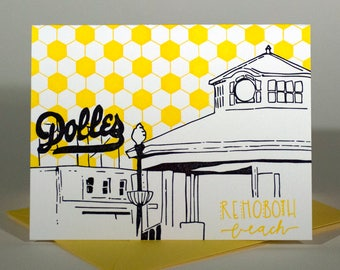 Rehoboth Beach Delaware Letterpress Card   Boardwalk   blue & yellow single blank card with envelope