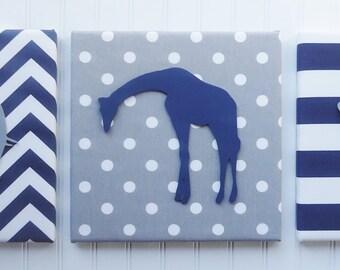 Nursery Wall Decor, Elephant Giraffe Lion on Fabric, Animal Decor, Customized, Safari Nursery Decor, Upholstered, Safari Animals Nursery