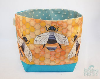 Bumble Bee Fabric Storage Box, Storage Basket, Fabric Basket, Fabric Organiser, Storage Bin, Bee Gift