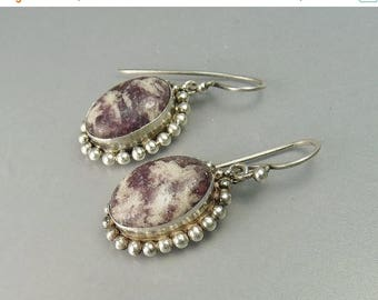 Southwestern Sterling Silver Earrings Purple Lepidolite