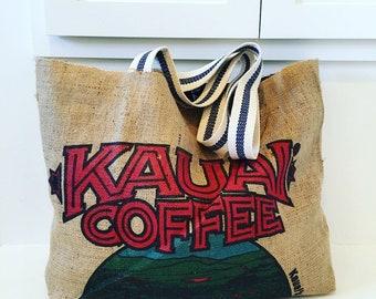 Kauai Coffee Sack Tote / Beach Bag/ Market Bag/ Oversized tote