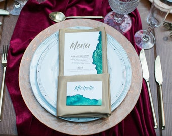 CUSTOM ORDER Water Color Emerald Green & Copper Printed Wedding Place Cards
