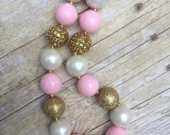 Pink and gold Chunky necklace, pink and gold bubblegum necklace, first Birthday, photo prop, M2M