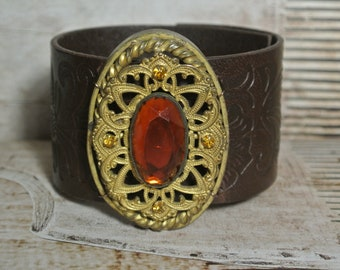Leather Tooled Bracelet with Repurposed Brass Brooch, Dark Brown Leather Cuff, Assemblage, Vintage Brooch, One of a Kind By UPcycled Works