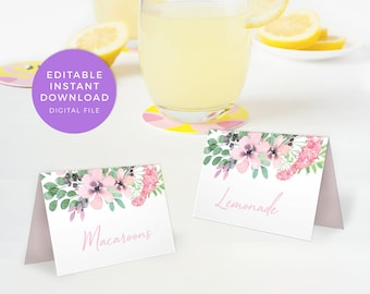 Floral food labels, Editable Table name cards, PRINTABLE table cards, Spring food tents, bridal shower table place cards pdf baby shower hen