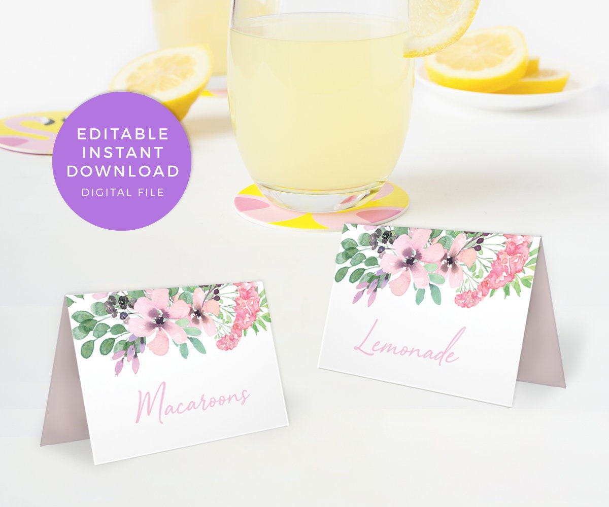 Floral food labels Editable Table name cards PRINTABLE table