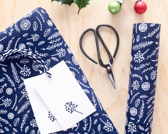 Luxury Gift Wrapping Set - Christmas Wrapping paper - Gift Wrap Set - Quirky Gift Wrap - Navy Wrapping Paper - Floral Gift Wrap