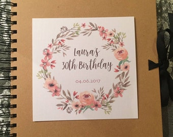 Personalised 18th 21st 30th 40th 50th 60th Birthday Scrapbook - Coral And Pinks
