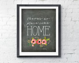 Theres No Place Like Home   Chalkboard Floral   Digital Print Art INSTANT DOWNLOAD