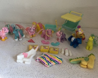 Vintage My Little Pony, Baby Pony Set, Lot Baby Ponies and Accessories