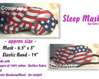 SLEEP Mask eye cover - USA - FLAG - / travel mask sleeping eye cover - red white blue