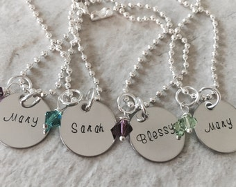 SALE Personalized name necklace hand stamped custom with birthstone bridesmaid necklace jewelry monogrammed daughter girl christmas gift
