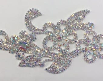 ModaTrims Glue-on / sew-on crystal rhinestone applique with ab stones and silver claws- 9 x 3 inches - 1 pc - rhs-apl-m103-ab