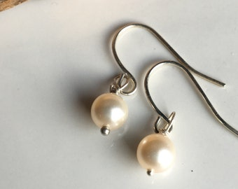 Swarovski Glass Pearl Earrings, Tiny Glass Pearl , Faux Pearl Earrings, Silver Plated Earwires, Dangle Earrings, Everyday, Bridesmaid Gift