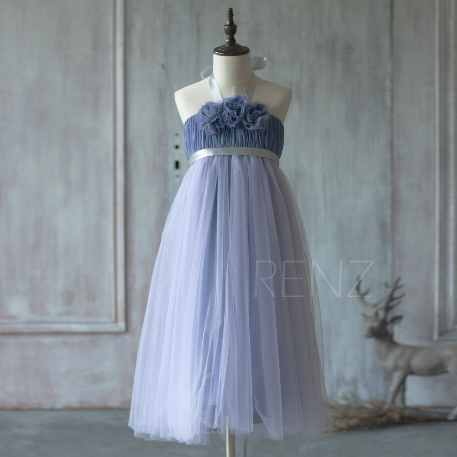 Steel Blue Junior Bridesmaid Dress Halter Flower Flower Girl