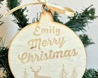 Personalized Wooden Ornament Christmas Scrapbooking Embellishment Rustik Decor
