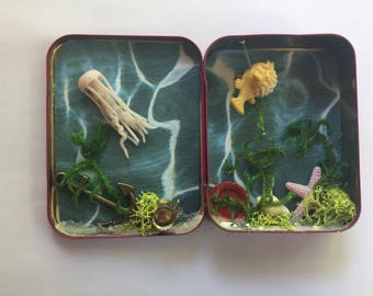Miniature Mystery box Underwater Treasures with Blowfish Starfish and Jellyfish one of a kind Tiny scene in tea tin