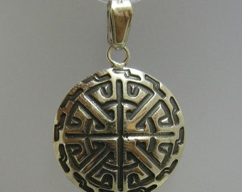 PE000799 Sterling silver pendant solid 925 Circle Cross