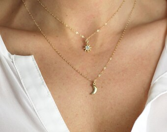 Petite Lunar Necklace - Minimal Moon Necklace on a simple chain great for layering with a star necklace