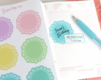 Extra Large Doily Planner Stickers, 6 Doily Stickers, Scalloped, Decorative, Crochet, Crafting, Reminder, Agenda, Diary, Scrapbook, DLY4