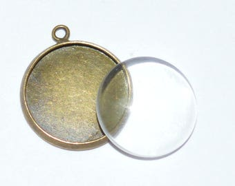 10 pieces: 5 blank pendants 16mm + 5 glass cabochons