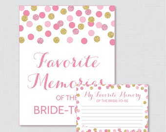 Favorite Memories of the Bride To Be Activity - Printable Pink and Gold Glitter Shower Game - Bridal Shower Memory Activity - 0001-P