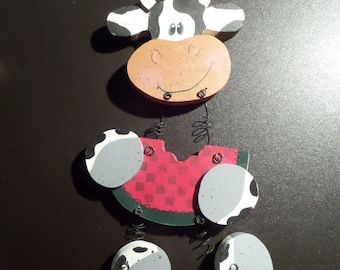 Handpainted wooden Hanging Cow with watermelon
