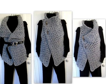 Women's Crochet WRAP VEST - Crochet Pattern- Sweater,  Crochet for Women, S - 4XL - #884-