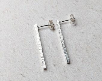 Textured vertical studs: Argentium Silver 935