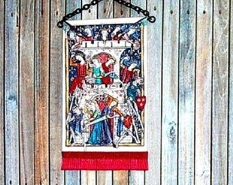 Siege Of The Castle Of Ladies Tapestry, Medieval Dollhouse Miniature, 1/24 Scale Size, Hand Made
