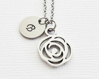 Flower Necklace Floral Necklace Garden Nature Teacher Gift BFF Friend Gift Silver Jewelry Personalized Monogram Hand Stamped Letter Initial